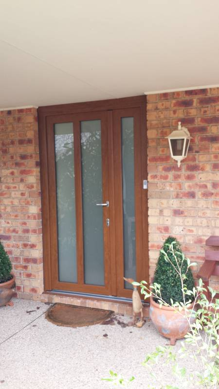 uPVC timber look double glazed entry door